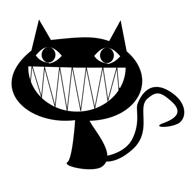 Vector image of huge smile cat face