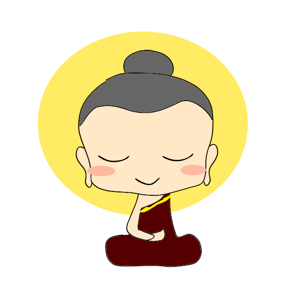 Vector drawing of cartoon Buddha
