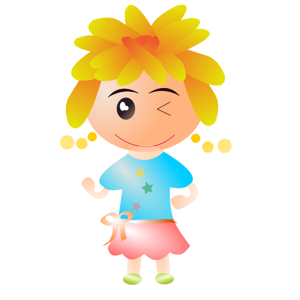 Vector graphics of girl with short blond hair