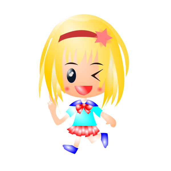Vector clip art of girl with long blond hair