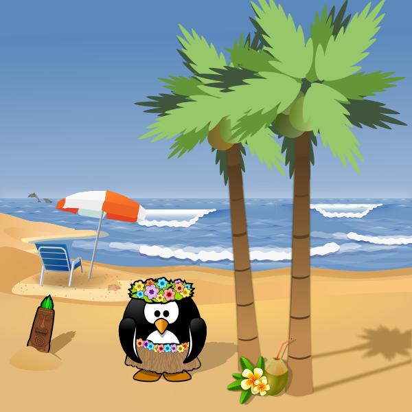 Penguin on summer holiday vector illustration
