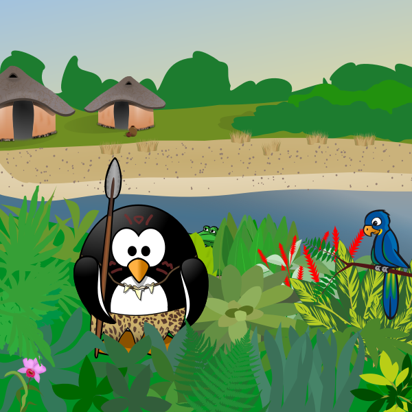 Tux on a hunt in nature vector image