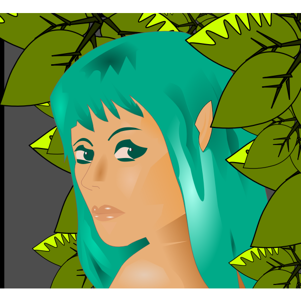 Vector graphics of woman in leaves
