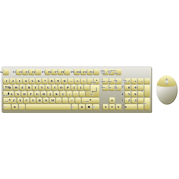 Golden eyboard and mouse topview vector image