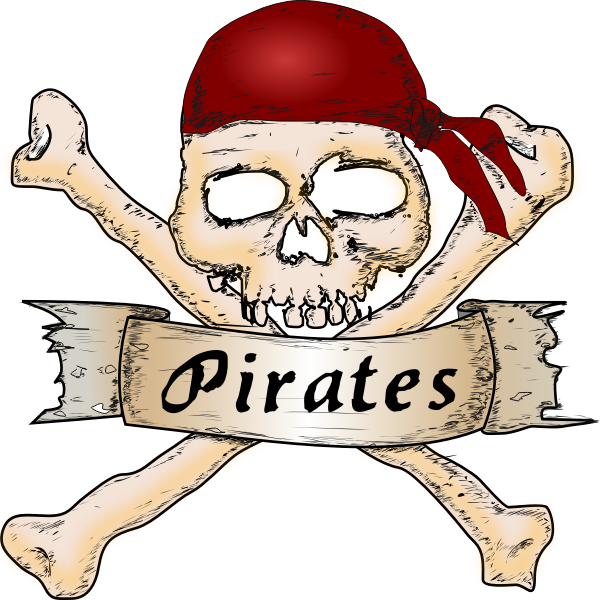 Vector illustration of wooden pirate sign with a skull