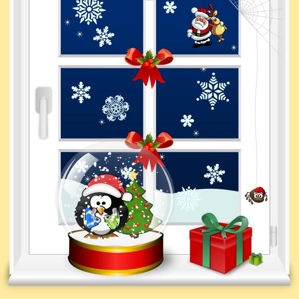Christmas window home scene vector graphics