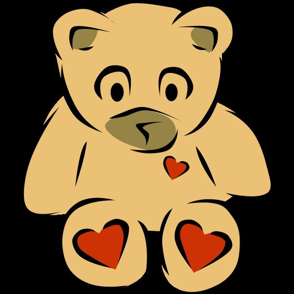 Teddy bear with hearts vector clip art