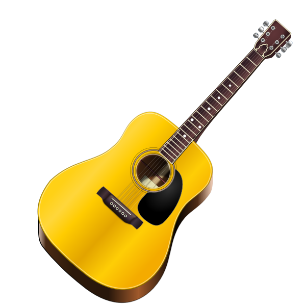 Acoustic guitar photo-realisitc vector drawing