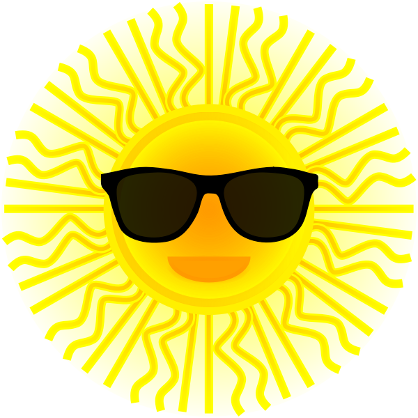 Sun with sunglasses vector drawing