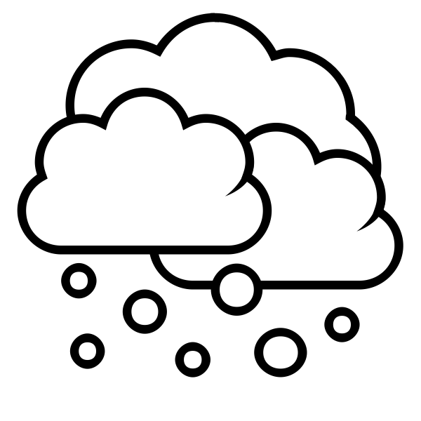 Black and white weather forecast icon for snow vector drawing