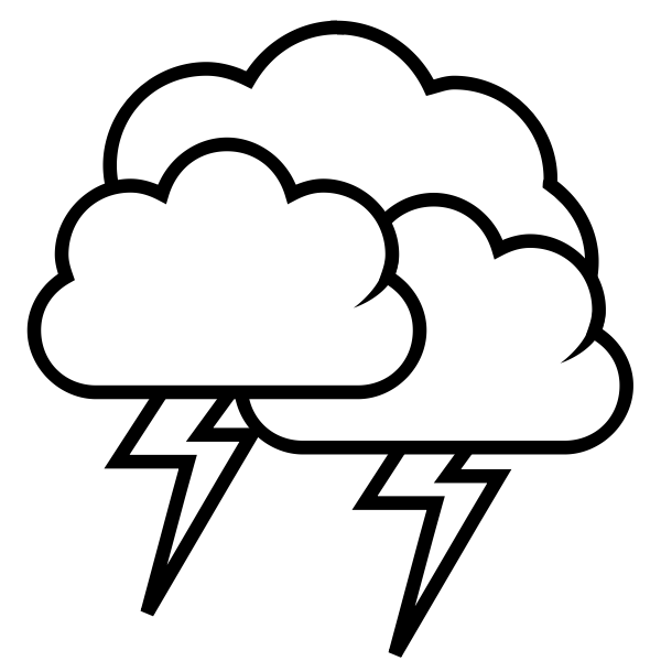 Black and white weather forecast icon for thunder vector graphics