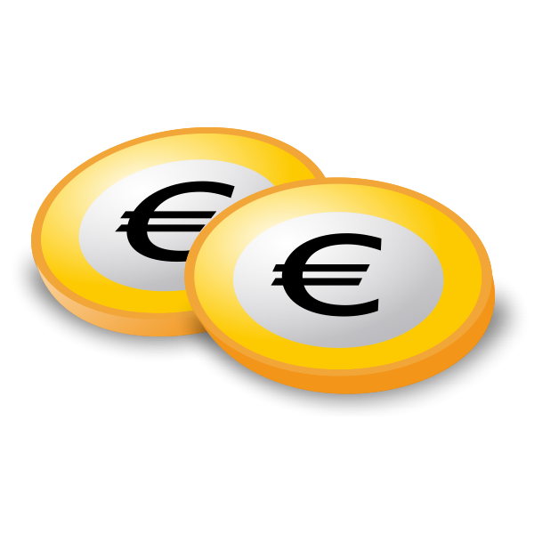 Vector image of coins with Euro logo