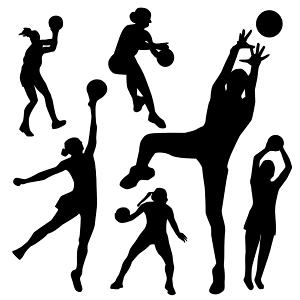 Vector silhouette of netball player in different poses