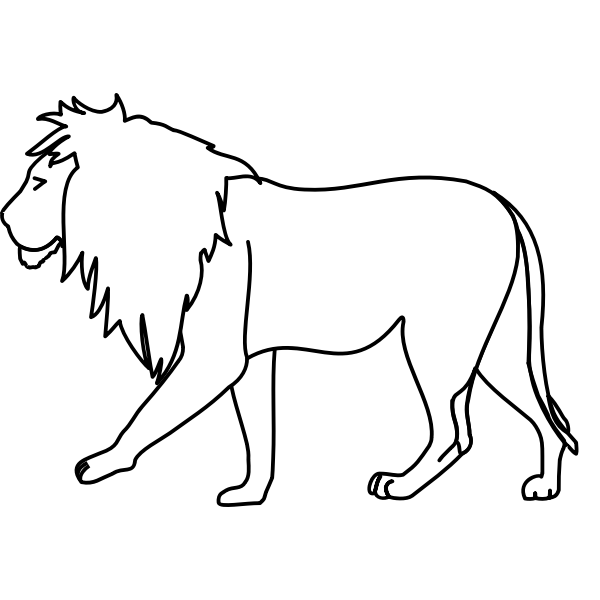 Vector image of walking lion line art