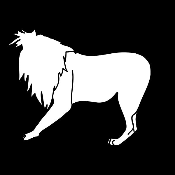 Vector image of walking lion line art
