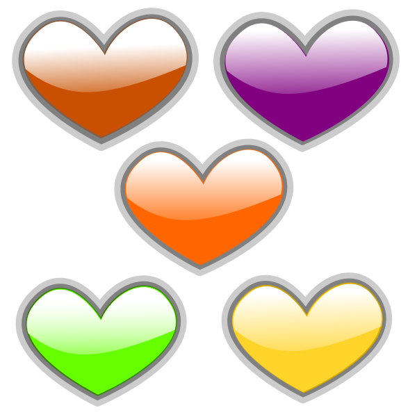 Color glossy hearts vector image