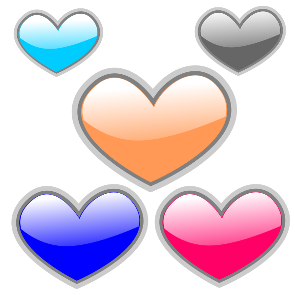 Selection of vector color glossy hearts