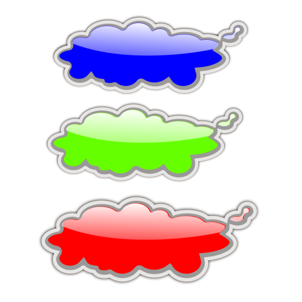 Green and red clouds vector clip art