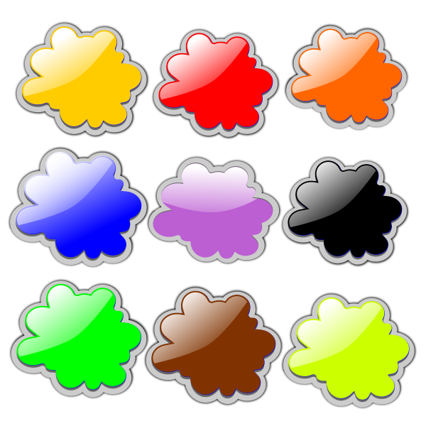 Colorful clouds set vector illustration
