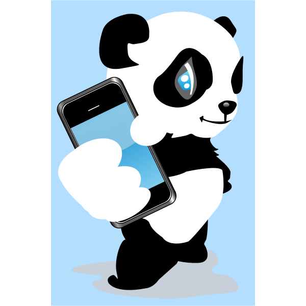 Panda with mobile phone vector image