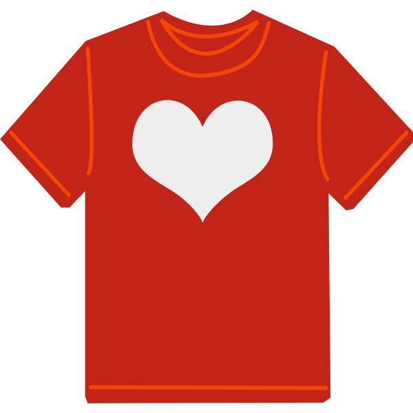 Red T-shirt with heart vector image