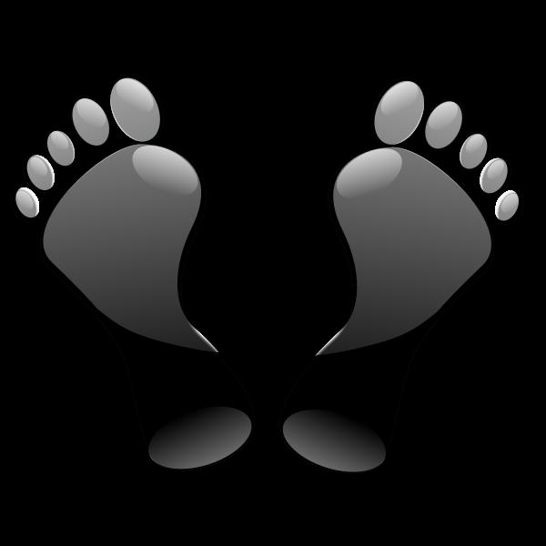 Glossy black feet imprint vector illustration