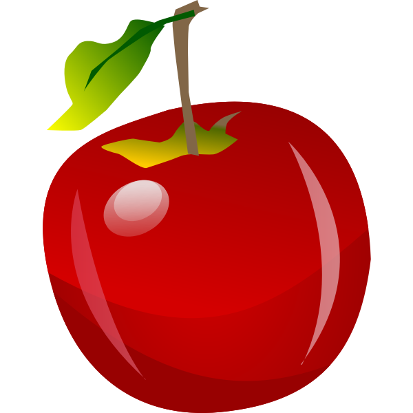Vector illustration of shiny red apple with tip