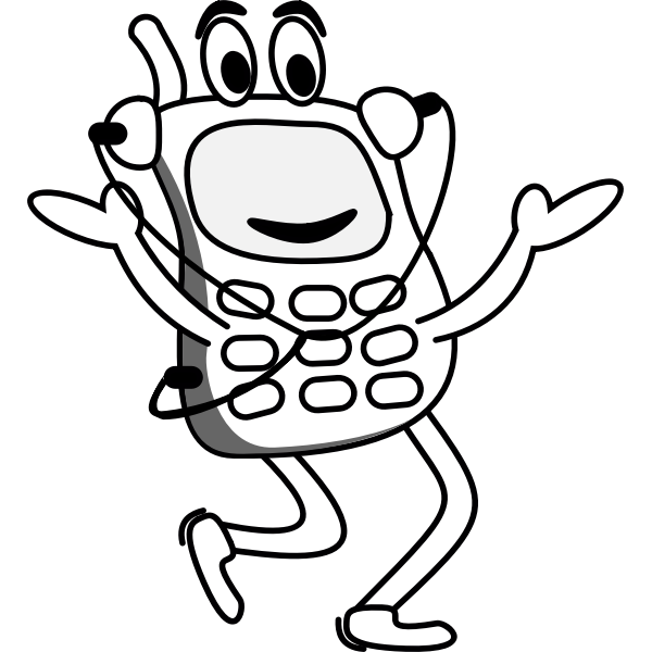 Running mobile phone vector drawing