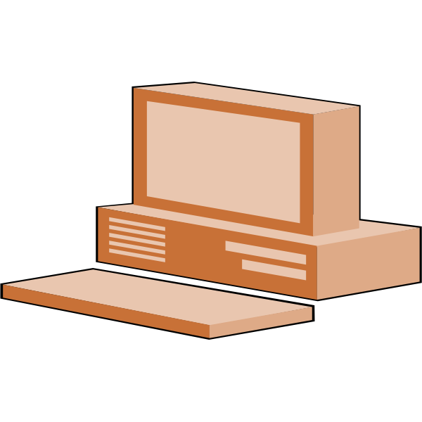 Brown computer configuration vector image