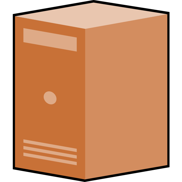 Brown computer box vector clip art