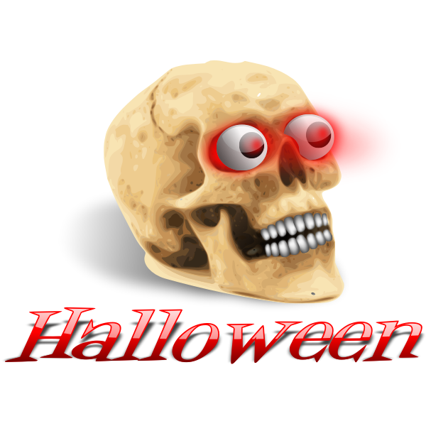 Scary skull with red eyes vector image