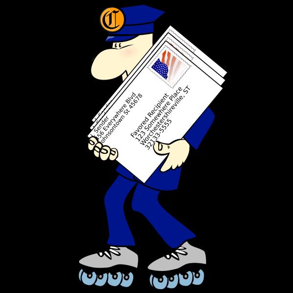 Postman on rollerblades vector clip art