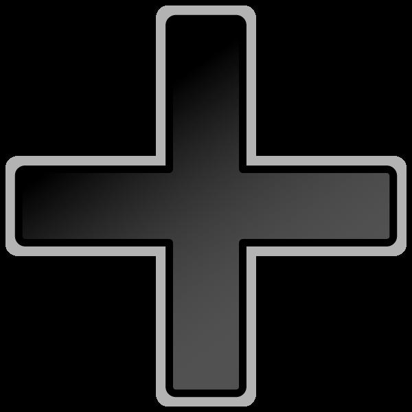 Dark grey plus sign vector clip art