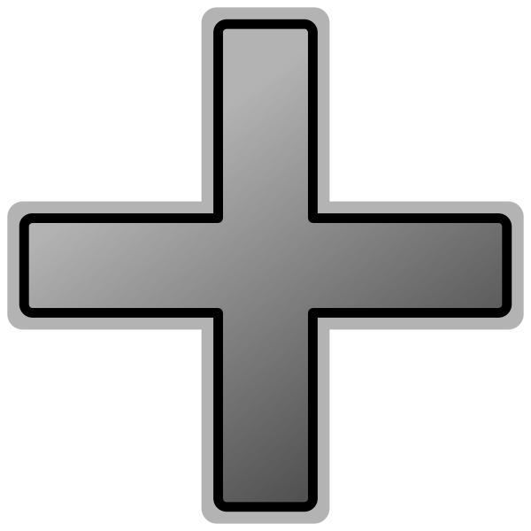 Grey plus sign vector image