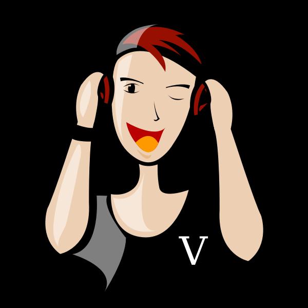 DJ lady vector illustration