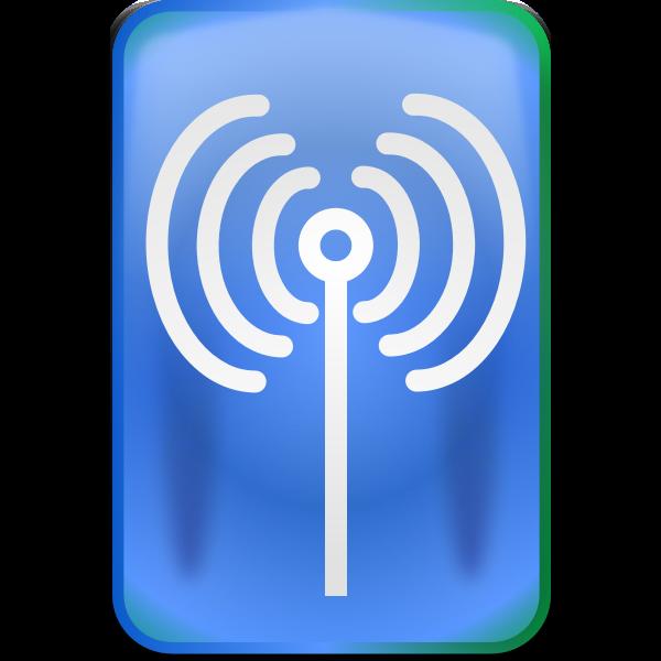 Rectangular wi-fi sign sticker vector drawing