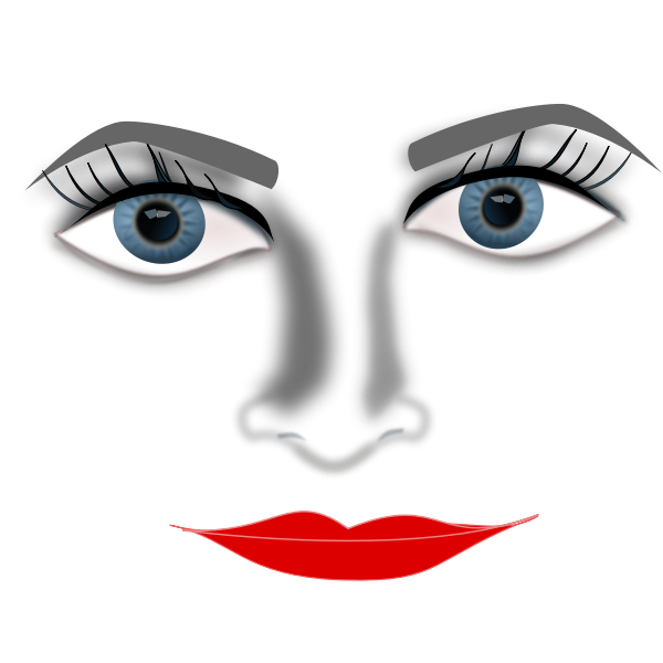 Lady face zoomed in vector graphics