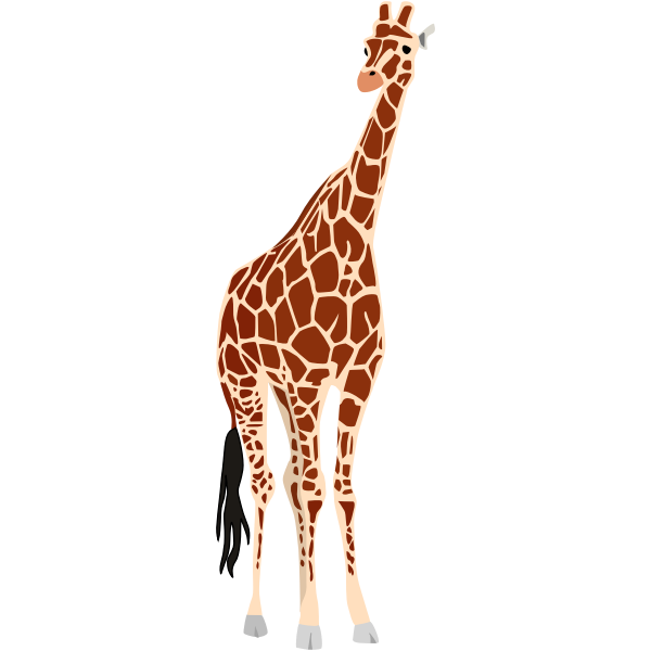Vector drawing of giraffe with black tail