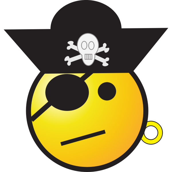 Vector clip art of pirate smiley with a hat