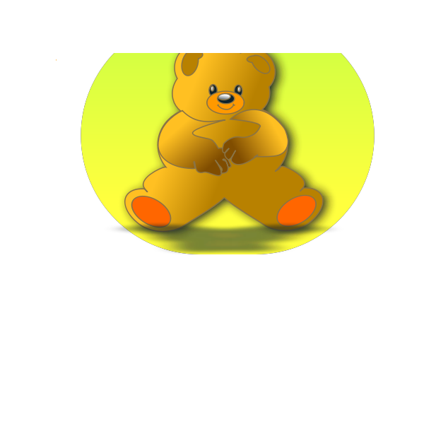 Vector drawing of teddy bear in green circle
