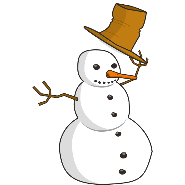 Snow man lifting it's hat