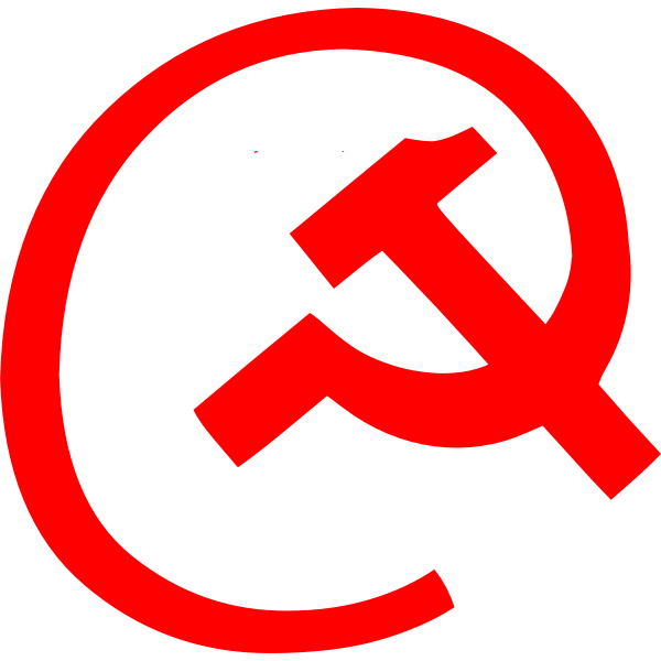Email symbol with hammer and sickle