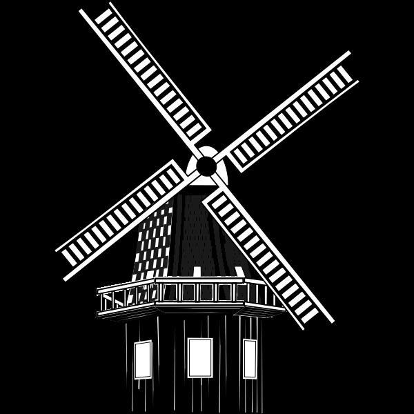Windmill monochrome art