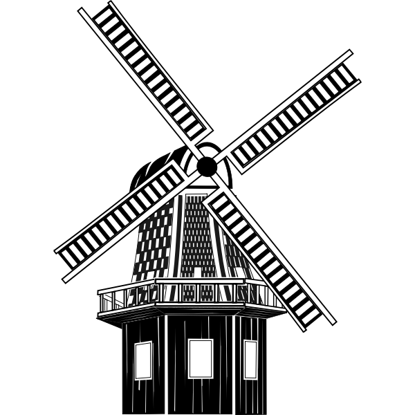 Windmill monochrome art