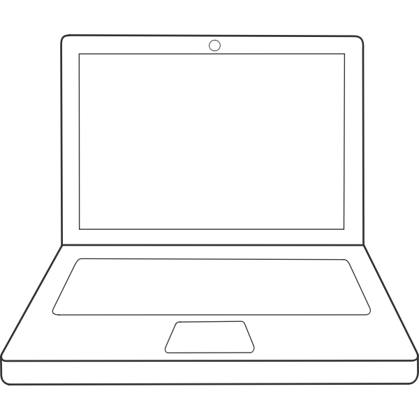 Laptop computer line art vector clip art