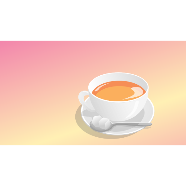 Photorealistic vector graphics of tea serving on orange background