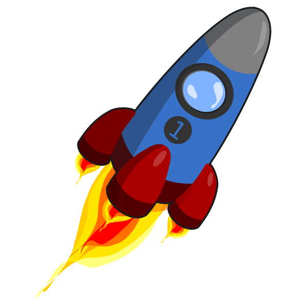 Blue and red rocket with engines ignited vector graphics