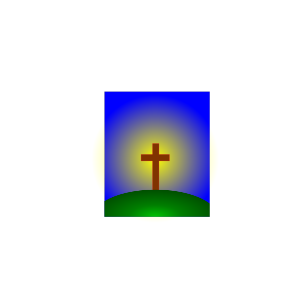 Cross on hill in distance vector image