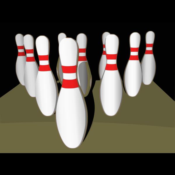 Bowling tenpins with shade vector clip art