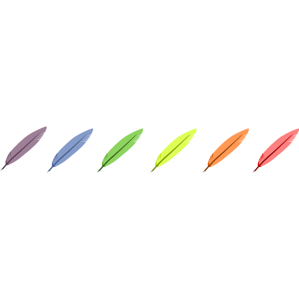 Vector drawing of six colors feather selection